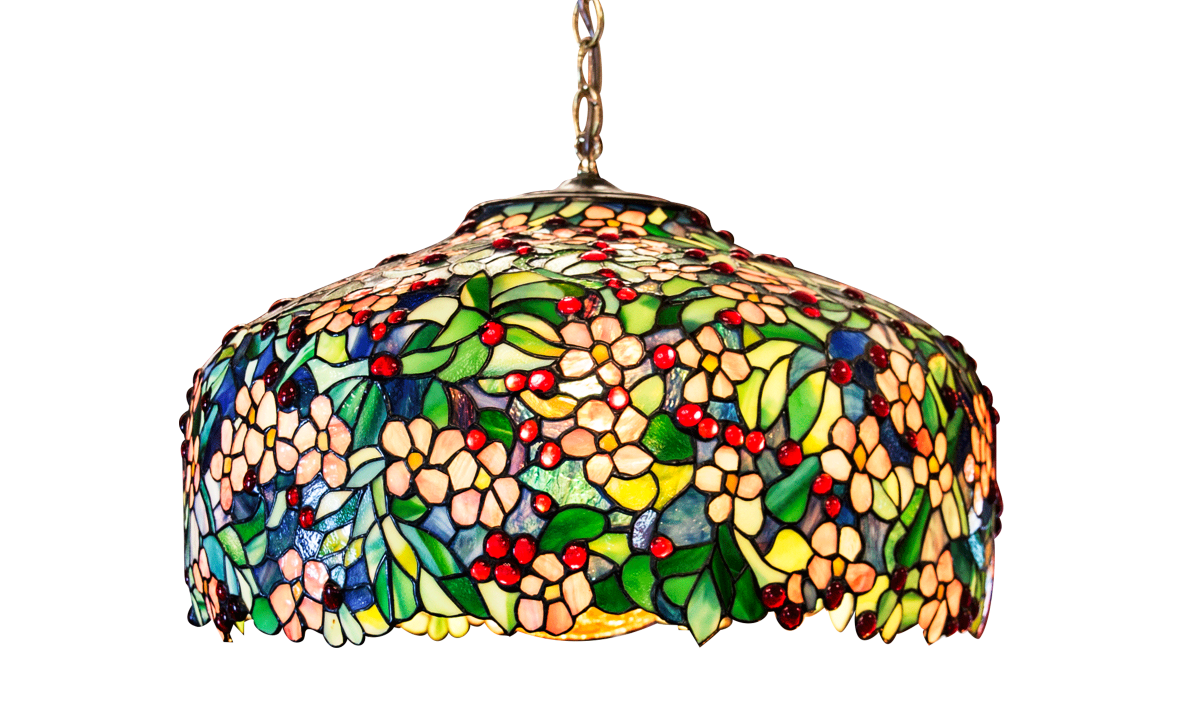 stained glass lamp with flowers