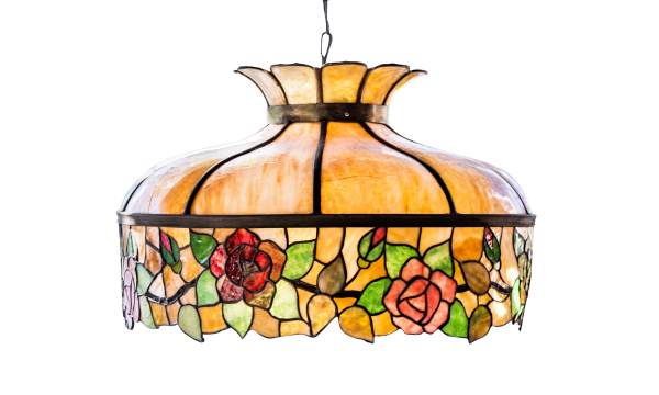 stained glass lamp with roses