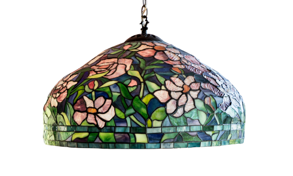 stained glass lamp with flowers and leaves