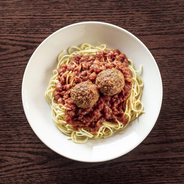 plate of spaghetti and meatballs at The Old Spaghetti Factory