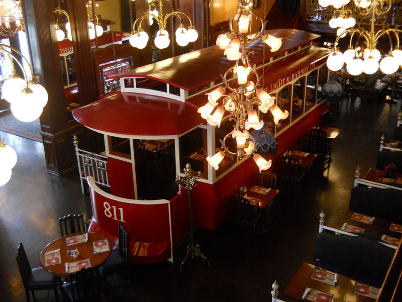 Taylorsville Old Spaghetti Factory interior with trolley