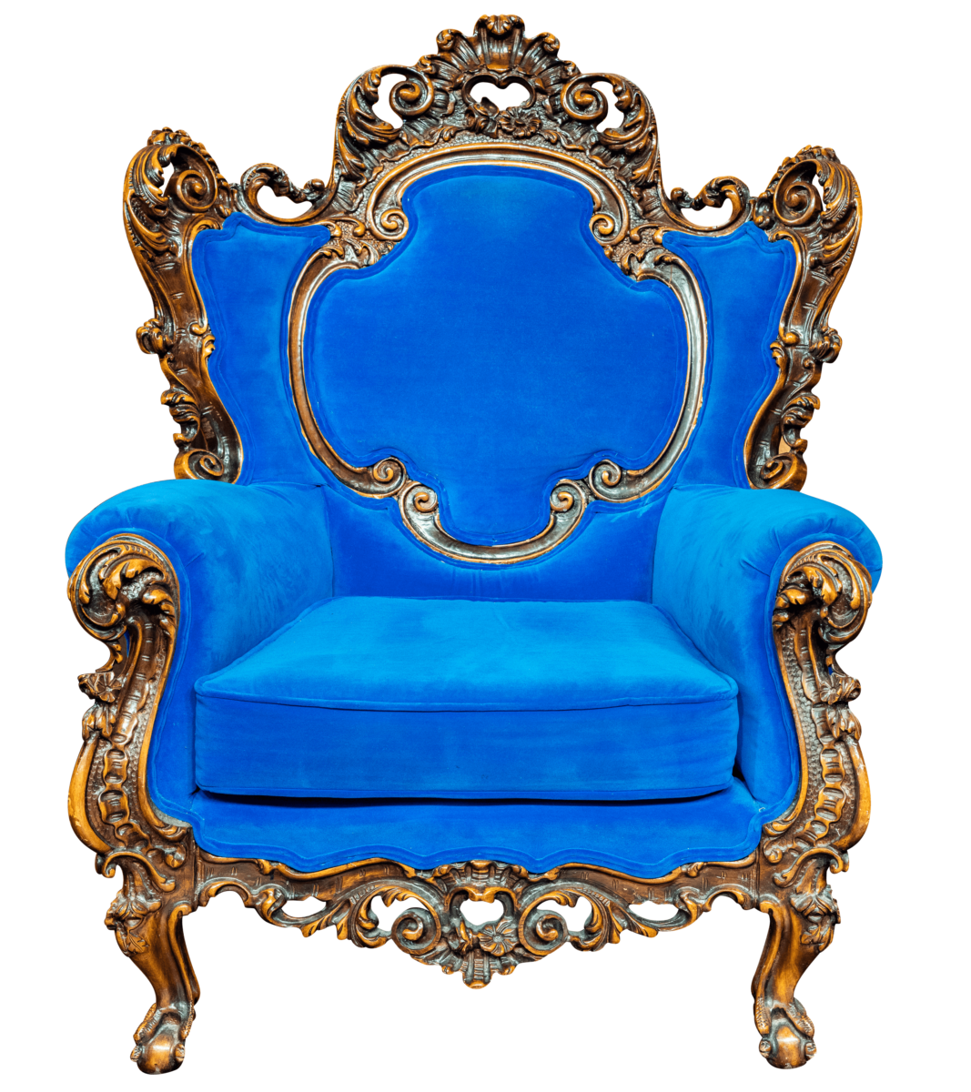 plush blue chair