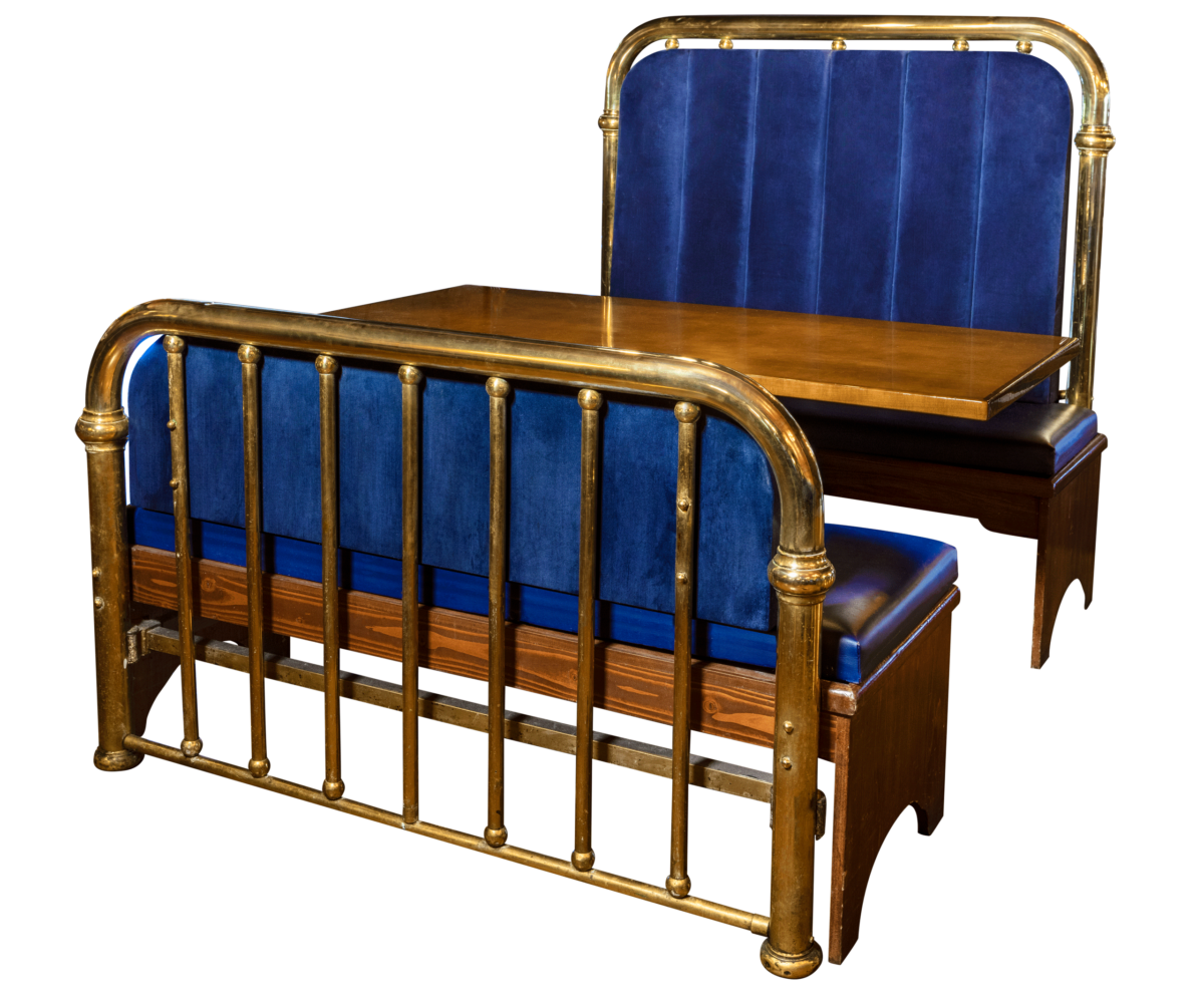 blue bed frame booth