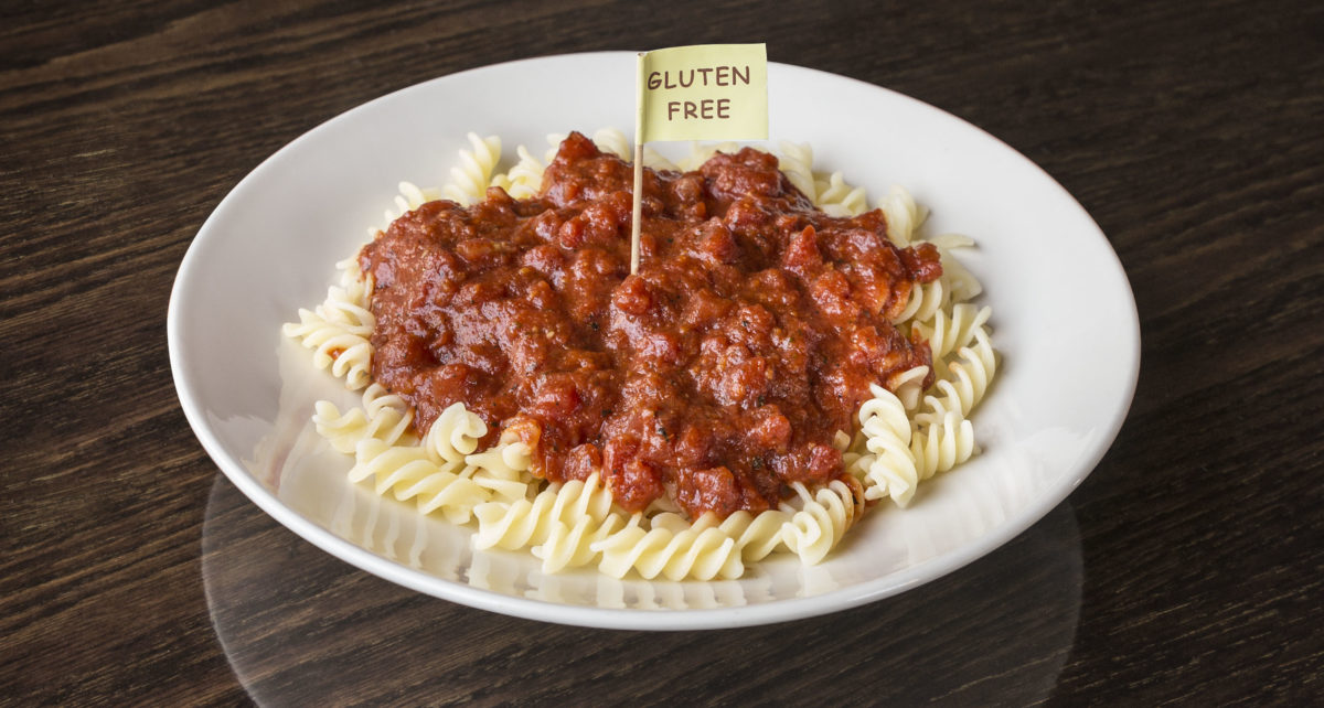 "plate of gluten free pasta with ""Gluten Free"" flag"