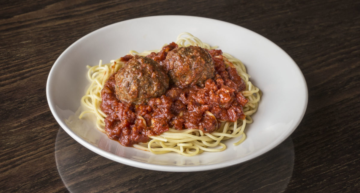 plate of The Old Spaghetti Factory's Spaghetti and Meatballs